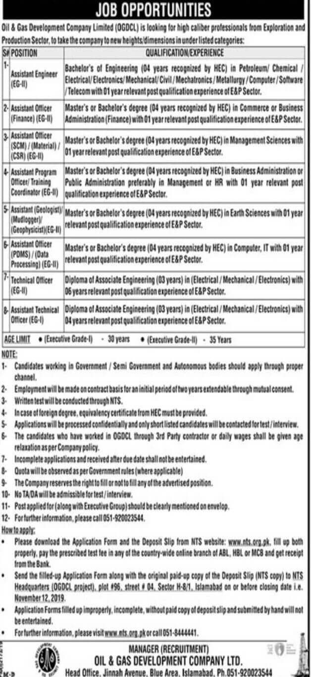 ogdcl jobs opportunities 2019