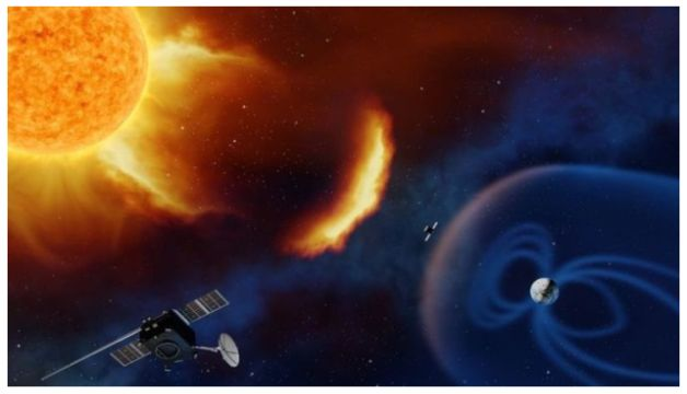 A Solar storm travels at the speed of 1.8 million km/hr to hit Earth