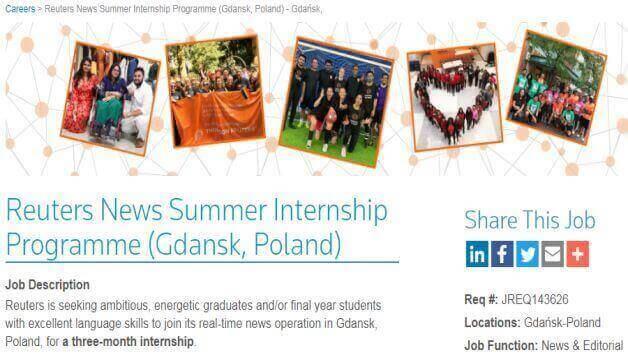 Summer Paid Internship in Gdansk, Poland For International Students