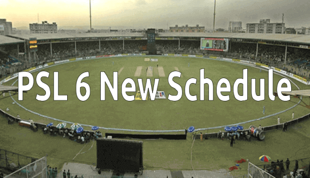 PSL 6 New Schedule Time Table For All the Matches