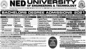 NED University Admission 2021 Last Date