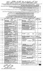 BISE Lahore 9th Class Date Sheet 2021